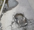 Pothole in road